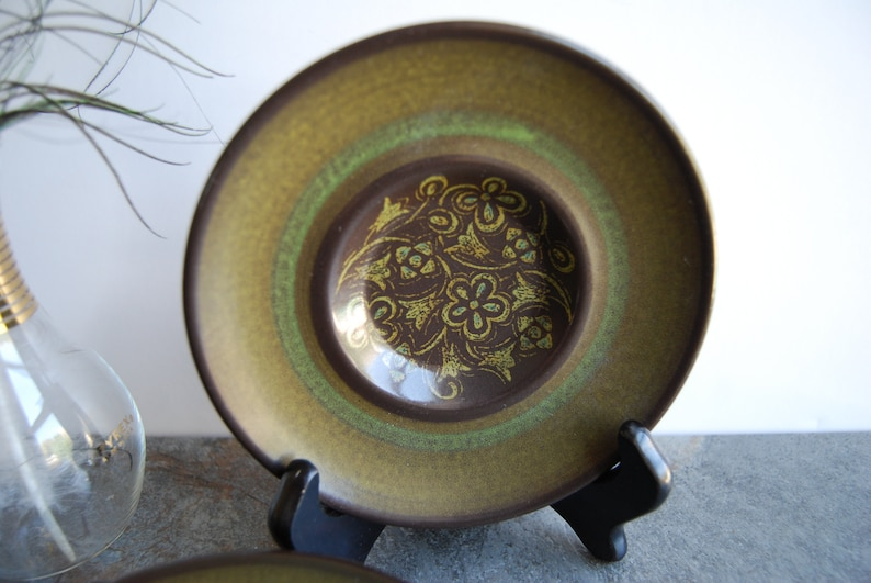 Franciscan Earthenware Madeira Saucers Set of 4 Stoneware Plates Earthy Brown Green Floral Made in California USA