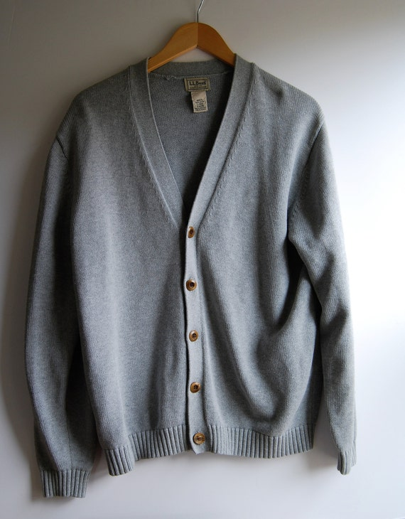 Mens Sweater Cardigan Large Gray Retro Ll Bean Sweater Etsy
