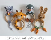 CROCHET PATTERN BUNDLE crochet amigurumi cat kitten giraffe penguin bunny rabbit rattle teether ring Handmade baby shower newborn gift