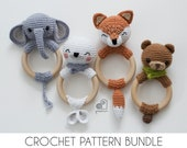 CROCHET PATTERN BUNDLE crochet amigurumi fox elephant seal bear rattle teether ring Handmade baby shower newborn gift