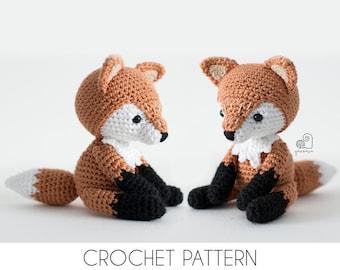CROCHET PATTERN Lucy the Fox crochet amigurumi stuffed sitting forest animal plush toy / Handmade gift