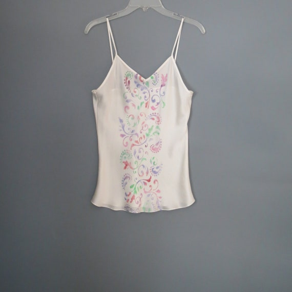 6be1ccd64387e Spaghetti strap silk blouse hand painted silk camisole tank