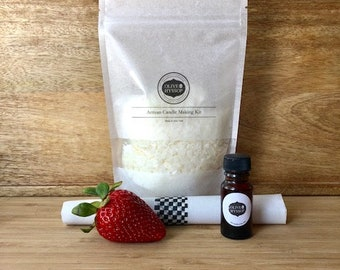 Strawberry shortcake candle, Strawberry Soy Candle Making Kit, Grand, gift ideas, 30th birthday gift, maid of honor