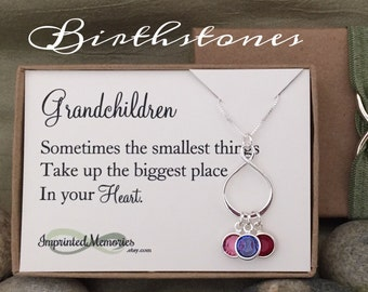 Grandma Jewelry Gift from grandchildren necklace - Sterling Silver Eternity Birthstone Necklace for grandma gift 60th birthday Mother's Day