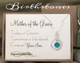 Mother of the GROOM Gift from Groom - Necklace Sterling Silver Crystal - Today a Groom Forever Your Son - Mother of the Groom from Son