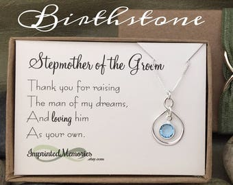 StepMother of the Groom Gift From Bride - Mother of the Groom Necklace for Stepmom Sterling Silver Gift for Stepmom - Step Mom Wedding Gift