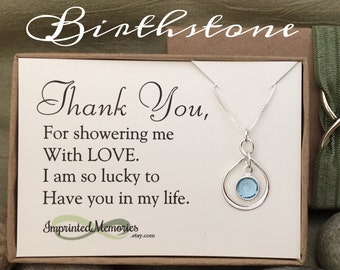 Thank you Gifts for Baby Shower Hostess Gift - Bridal Shower Hostess Gift - Party Host Gift - Sterling Silver Birthstone Necklace for Friend