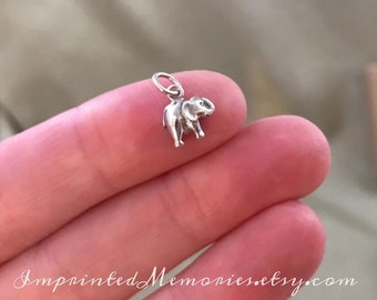 Petite 3D Elephant Charm Sterling Silver Jewelry Anm1051