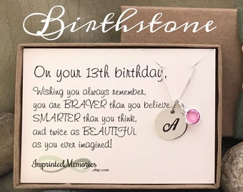 Birthstone 13th Birthday Gift For Girls Necklace