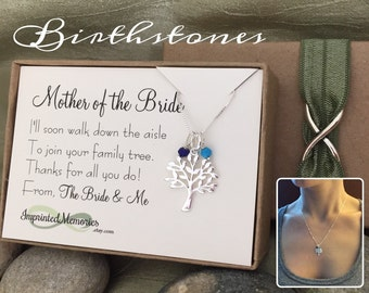 Mother of the BRIDE Necklace TINY Genuine Gemstone Birthstone Family Tree Necklace Mother of the Bride Gift from Groom Wedding Gift for Mom