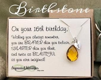 16th Birthday Gift For Girls Birthstone Necklace