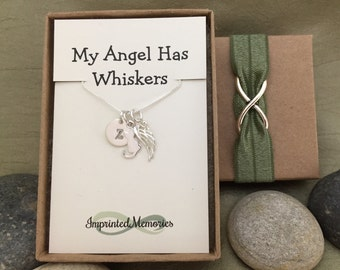 In Memory of a cat Necklace TINY cat memorial necklace - loss of a cat memorial jewelry - my angel has whiskers necklace - angel kitty