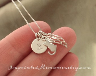 TINY Cat Memorial Necklace - In Memory of a cat Necklace - Sterling Silver cat necklace - My Angel Whiskers loss of cat jewelry kitty