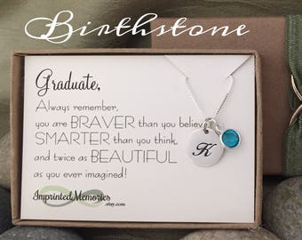 Graduation Gift for Her Graduate Gift - Sterling Silver Birthstone Necklace - School Graduation Gift Class of 2018 - Girl Graduation Gift