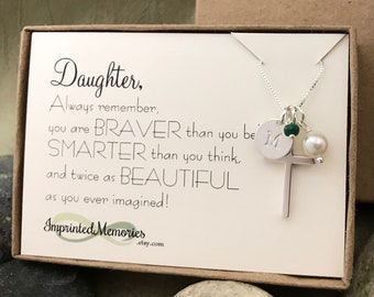 Daughter Gift - Confirmation Gift Birthstone Necklace First Communion Gift for Daughter Baptism Gift Jewelry Religious Cross Necklace Pearl