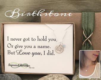 Miscarriage Jewelry Loss of baby - TINY sterling silver baby feet gemstone birthstone necklace - gift for mom - stillborn - pregancy loss