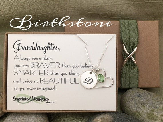 Gifts For GRANDDAUGHTER Birthstone Necklace Granddaughter
