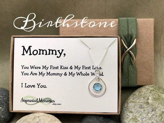 Birthstone New Mom Gift Push Present Mommy Jewelry First