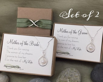 Wedding Gifts for Moms Thank you - 2 Sterling Silver Pearl - Mother of the Groom Gift From Bride - Mother of the Bride Gift From Groom Gift