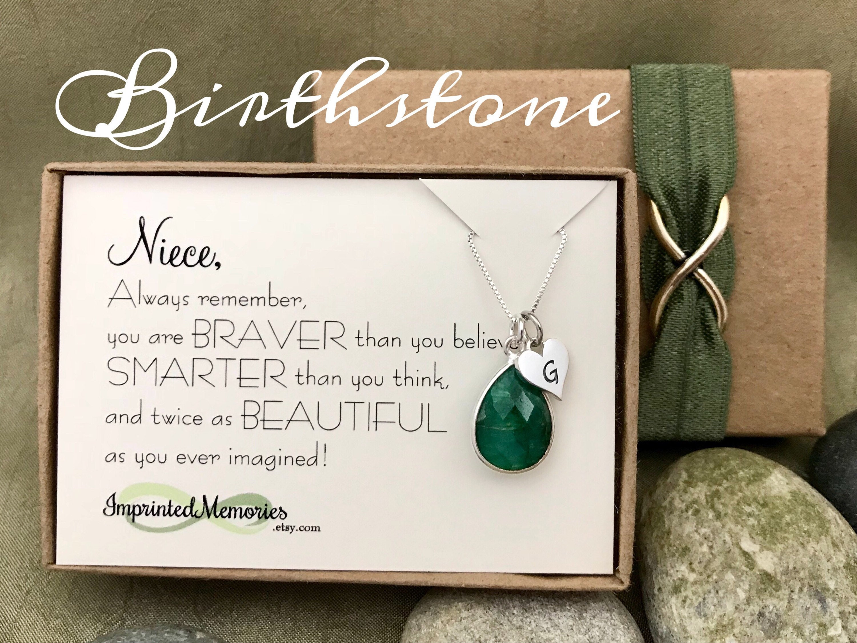 May Birthday Gift For Niece Jewelry Sterling Silver Emerald