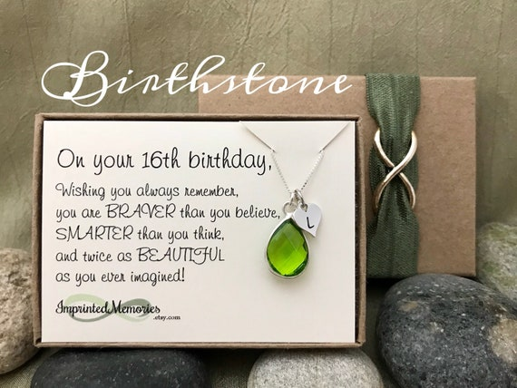 16th Birthday Gift For Girl Birthstone Necklace
