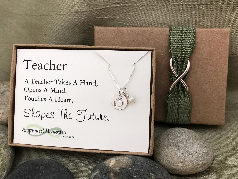 Teacher Appreciation Gift - TINY Apple Pearl Necklace - New Teacher Gift -  Elementary Teacher Graduation Gift Teacher Jewelry Future Teacher