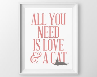 Cute Cat Print, Gift For Cat Owner, Cat Mom Gift, Cat Wall Art Gift For Cat Lover, Funny Cat Mom Quotes, Cat Wall Art, Cat Wall Decor