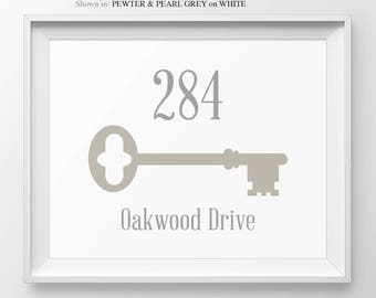 Foyer Decor Personalized Address Number Sign Housewarming Gift House Number Skeleton Key New Apartment Address Sign Welcome Sign Entryway