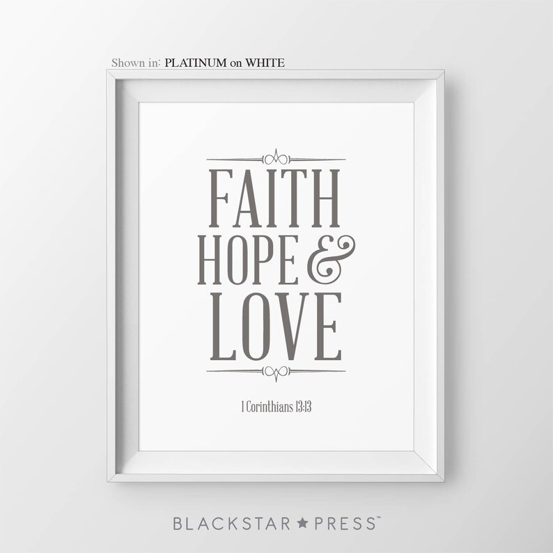 Faith Hope Love Bible Verse Wall Art 1 Corinthians 13:13 image 0