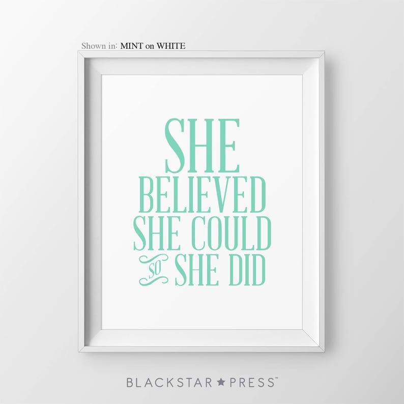 She Believed She Could So She Did Girls Nursery Decor image 1