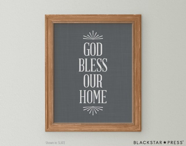 God Bless Our Home Quote Grey and White Wall Decor God Bless | Etsy