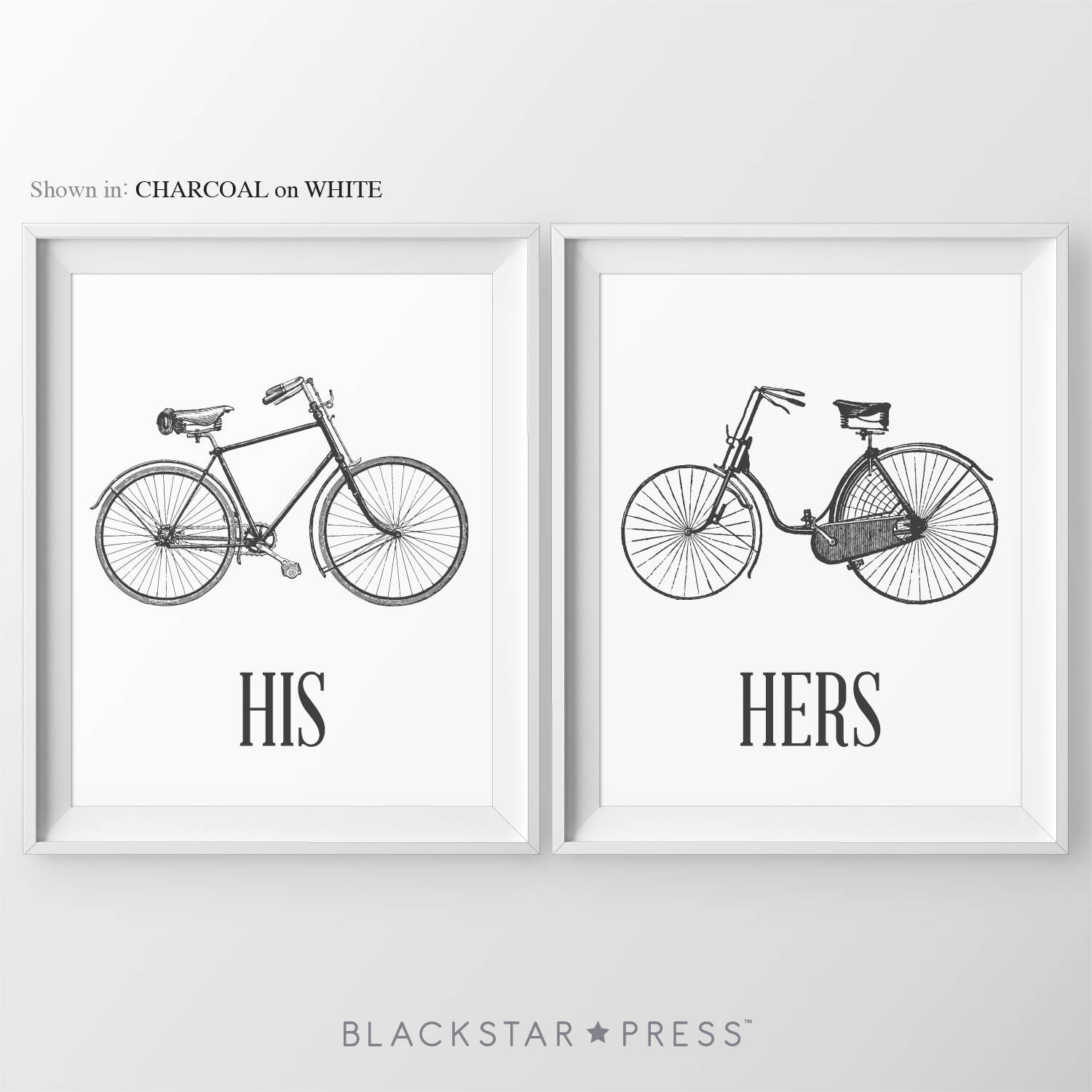 His & Hers Bicycle Prints Above Bed Art For Couples Bedroom Art Bedroom Wall Art Quotes His And Hers Gifts Bedroom Signs His Hers Bicycle
