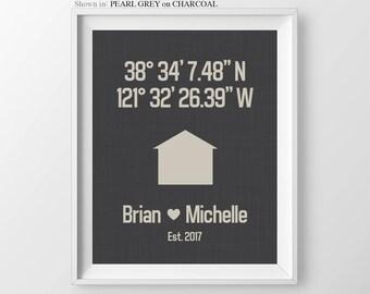 First Home Gift Couple Housewarming Gift For Couple Coordinates Print New Home Gift Latitude Print Latitude Longitude Anniversary Gift