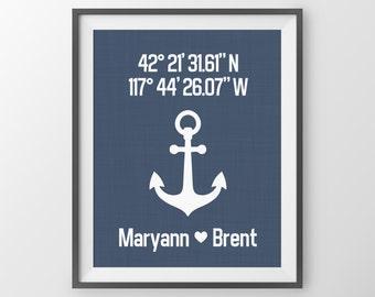 Personalized Navy Gift Nautical Décor Gift For Couple Custom Latitude Longitude Print Anniversary Gift Navy Blue Wall Art Housewarming Gift
