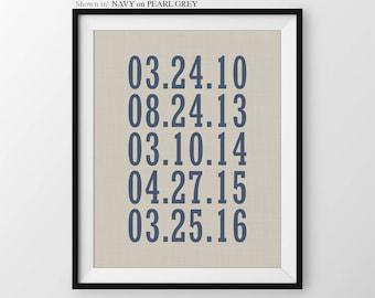Special Dates Keepsake Print, important dates print, keepsake gift, custom dates print, anniversary gift, Personalized Keepsake Gift