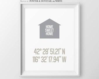 Personalized Latitude Longitude Print House Coordinates Print Housewarming Gift For Couple Anniversary Print Wedding Gift New Home Gift