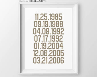 Important Dates Sign Gift For Parents Special Dates Print What A Difference A Day Makes Gift For Dad Gift From Daughter Gift For Mom