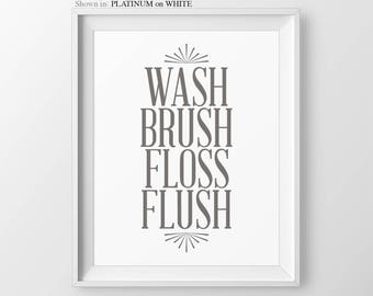 Bathroom Rules Wash Brush Floss Flush Childres's Bathroom Art Bathroom Wall Decor Bathroom Decor Kids Bathroom Sign Bathroom Print