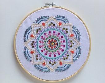Handmade embroidered mandala-table embroidered hanging-boho chic decoration