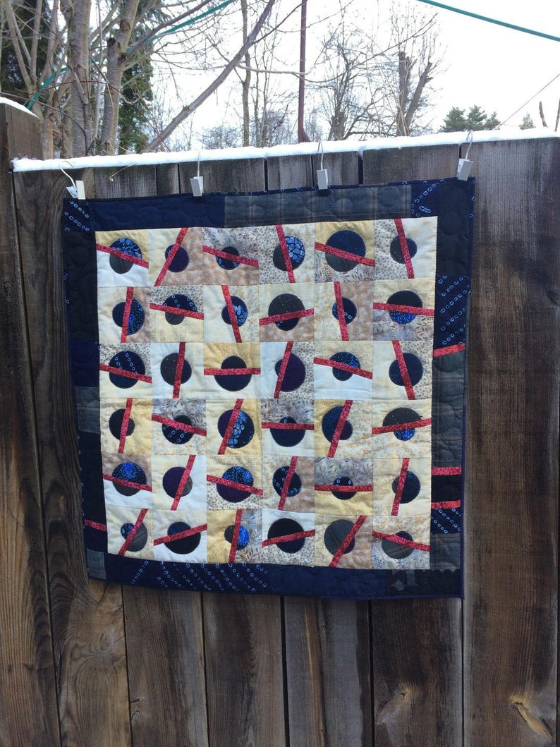 Contemporary textile painting blue and gray wall quilt textile home decor