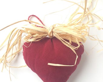 Heart hanging - deep red velvet textile decoration