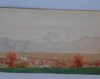 Vintage Spanish Village Water Color Painting