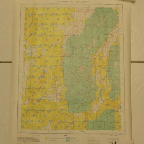 Vintage 1977 Utah Map Land Ownership Map Beaver County Etsy