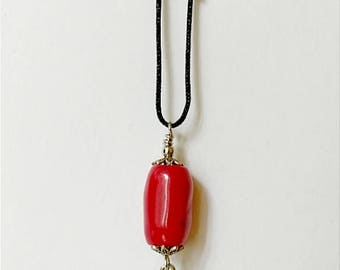 Coral Stone with Heart Charm Necklace
