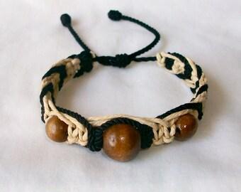 Very NIce Black and Brown Hemp  Macrame Bracelet