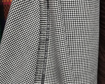 dogtooth houndstooth black and white check fabric pure wool suiting jacketing trousering skirting wool worsted made in England