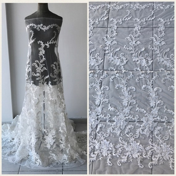 bc5f3379899 Off White Light Ivory bridal lace fabric corded with sequins