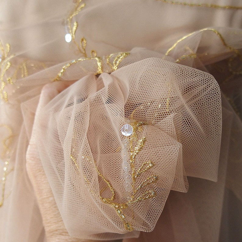 beige skin color nude high quality tulle delicate embroidery gold metallic thread iridescent sequins scallop edging bridal wedding veiling