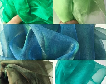shiny iridescent organza fabric green, greens, emerald olive teal lime