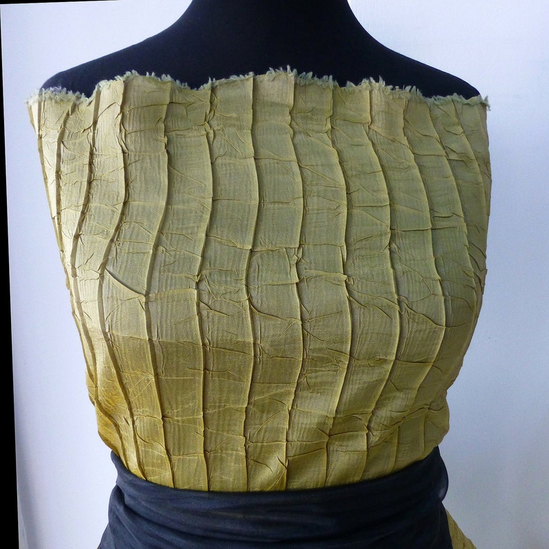 golden mustard yellow pleated organza fabric dress shirting high fashion couture shirting bustle dress stole 140 cm wide